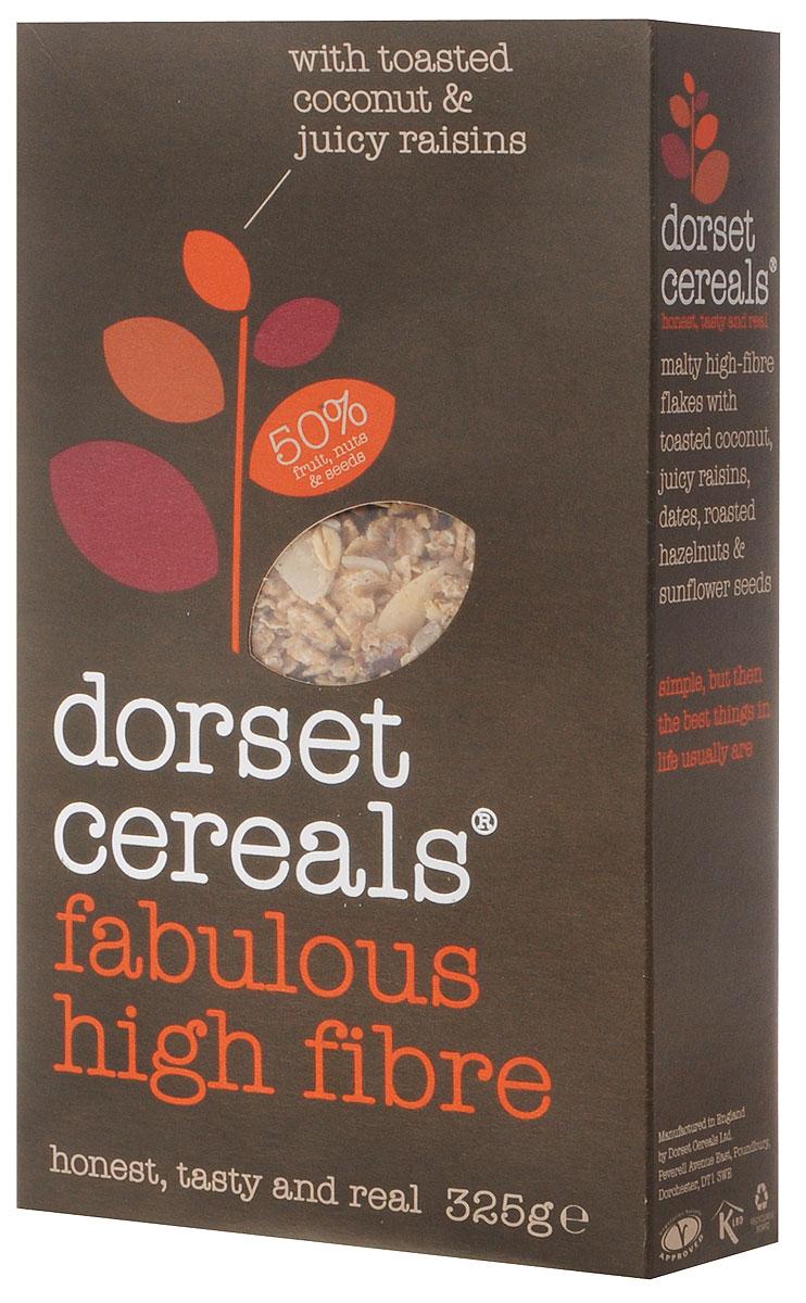 Dorset Cereals Super High Fibre мюсли, 325 г0120710Мюсли Dorset Cereals Super High Fibre, созданные исключительно из натуральных продуктов прекрасно подойдут к завтраку и наполнят вас силами и энергией на весь день. Добавьте к ним молоко, сок, йогурт и свежие фрукты - получится полезное лакомство. Мюсли положительно влияют на органы пищеварения и помогают укреплять сосуды.Уважаемые клиенты! Обращаем ваше внимание, что полный перечень состава продукта представлен на дополнительном изображении.