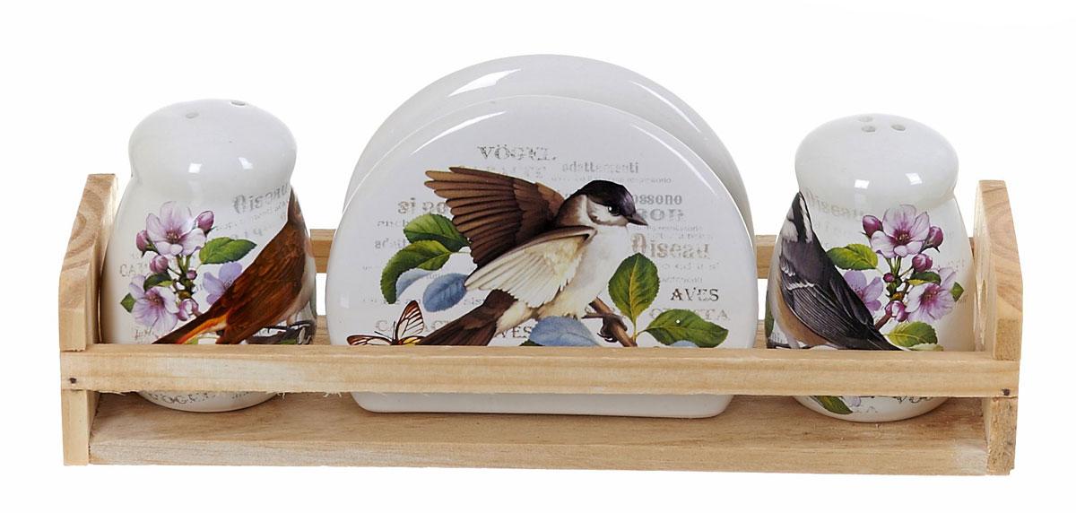 Набор для специй Polystar Birds, 4 предметаL2430769Набор Birds выполнен из керамики, на деревянной подставке. Благодаря своим компактным размерам не займет много места на вашей кухне. Солонка и перечница декорированы оригинальным орнаментом. В набор вошли: солонка, перечница, салфетница, подставка. Набор Birds для соли и перца станет отличным подарком каждой хозяйке. Размер набора: 24 x 8 x 9,5 см.