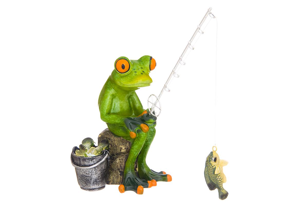 Фигурка декоративная Elan Gallery Лягушонок-рыболов, высота 16,5 смUP210DFДекоративные фигурки - это отличный способ разнообразить внутреннее убранство вашего дома. Декоративная фигурка с изображением лягушки станет прекрасным сувениром, который вызовет улыбку и поднимет настроение.Фигурка выполнена из полистоуна.Размер статуэтки: 15 х 8 х 16,5 см.