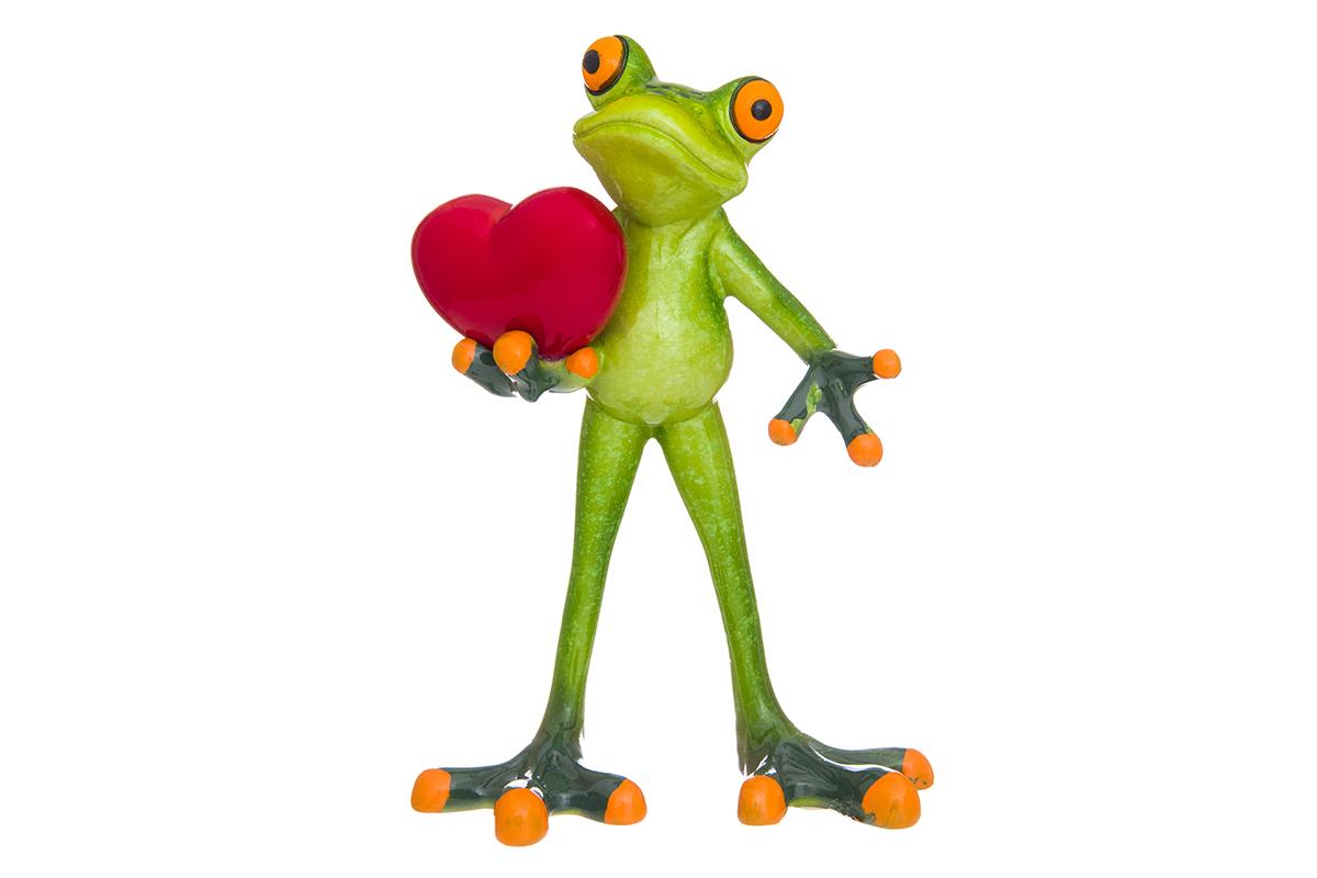 Фигурка декоративная Elan Gallery Лягушонок с сердцем, 10 х 6 х 14,5 смUP210DFДекоративные фигурки в виде забавных лягушат, изготовленные из полистоуна, станут необычным аксессуаром для вашего интерьера. Эти очаровательные вещицы станут отличным подарком Вашим друзьям и близким.