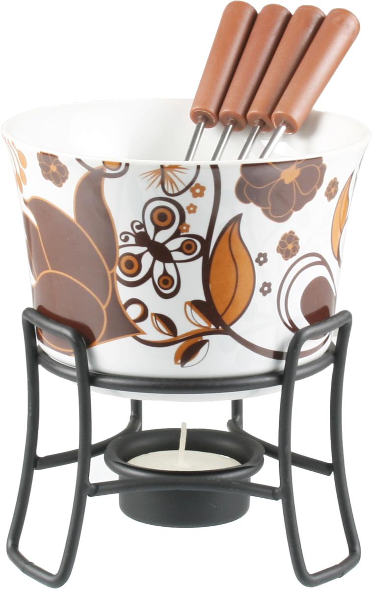 Набор для фондю Fissman Alice, 6 предметов115510Набор для фондю Fissman Alice состоит из керамической чаши, 4 вилочек и подставки с чайной свечей. Такой набор идеален для вечернего застолья в окружении семьи или друзей. Изделие выполнено в уютных теплых тонах и отличается оригинальным дизайном. Используйте этот набор для приготовления сырных и сладких смесей для фондю. Нарежьте кусочки хлеба, мяса, овощей, бананов, клубники, ананаса или зефира на кубики. Этот универсальный набор позволит каждому из ваших гостей насладиться тем продуктом, который ему нравится больше всего. Можно мыть в посудомоечной машине. Диаметр чаши: 11,5 см. Высота (с подставкой): 13 см.