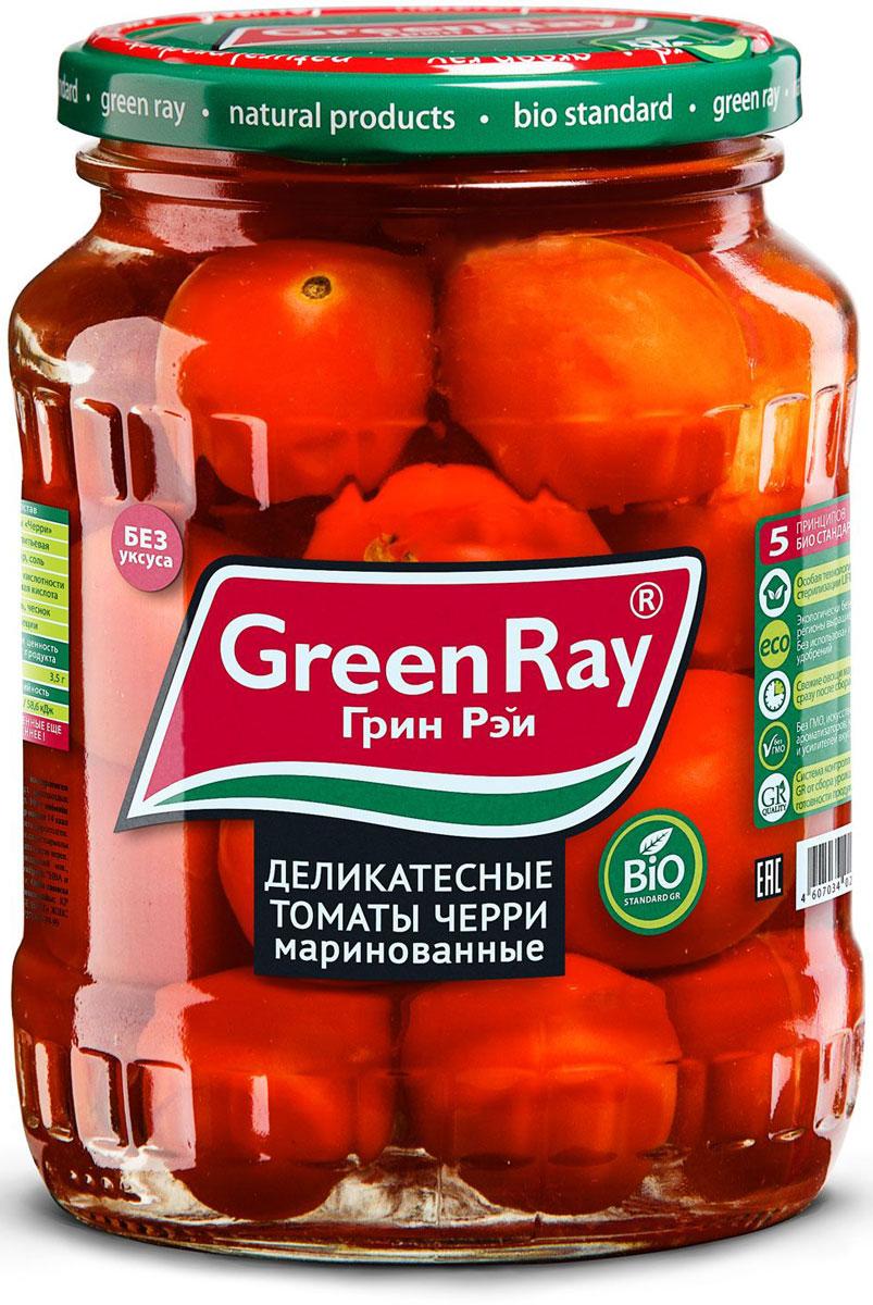 Green Ray деликатесные томаты черри маринованные, 370 мл614Деликатесные маринованные томаты черри Green Ray - это оригинальное кулинарное решение в будни и праздники. Продукт изготовлен из высококачественных ингредиентов по современным технологиям.