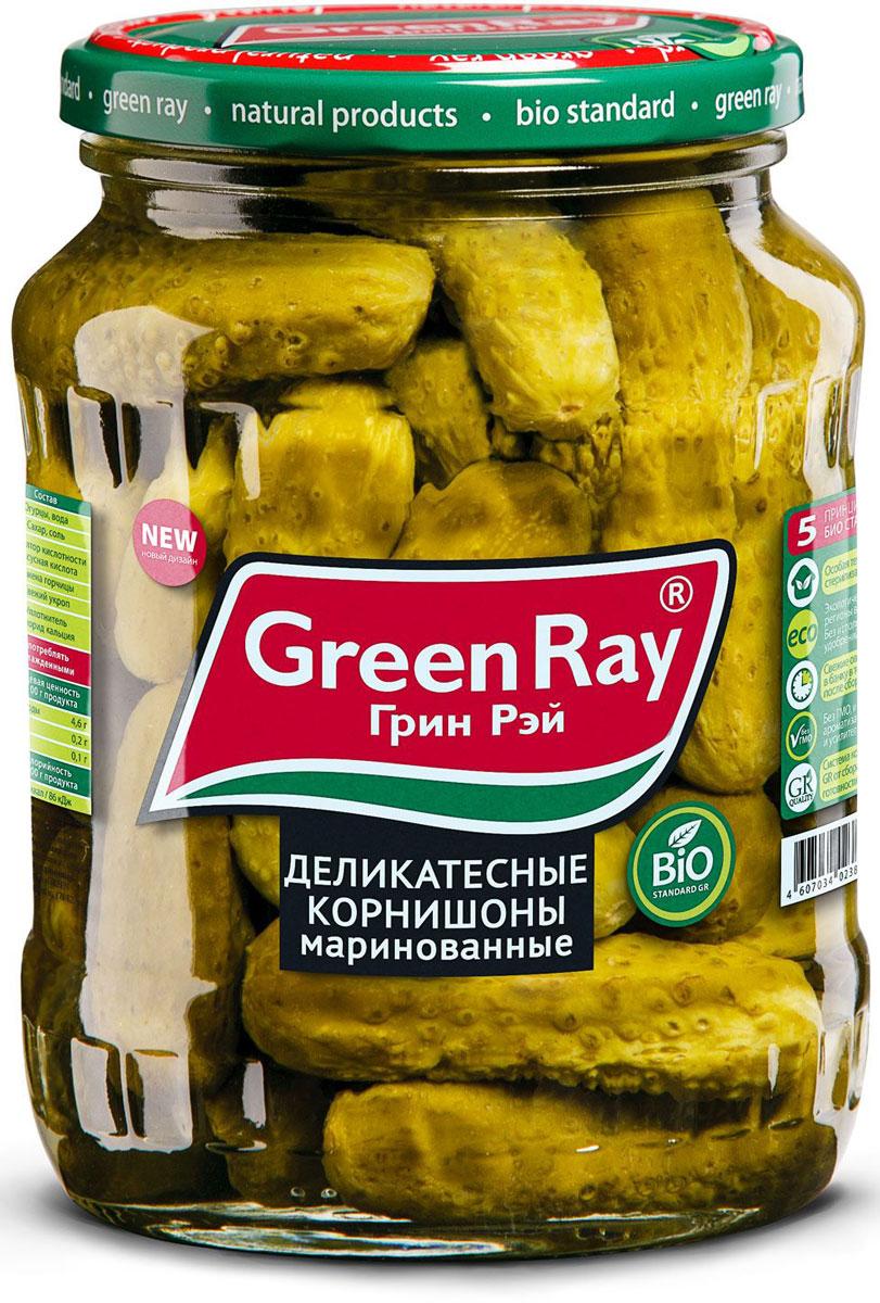Green Ray деликатесные корнишоны маринованные, 370 мл611Деликатесные маринованные корнишоны Green Ray богаты витаминами и микроэлементами. Благодаря гармоничному набору специй корнишоны отличаются тонким вкусом.
