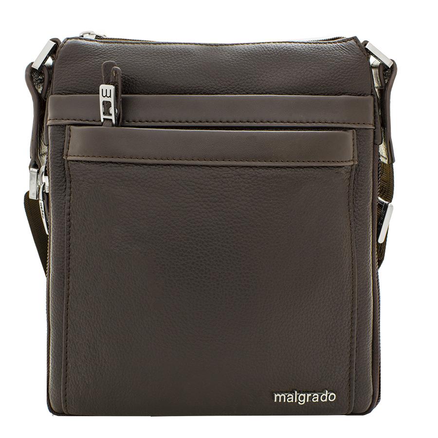 Сумка мужская Malgrado, цвет: коричневый. BR10-538C1836BR10-538C1836_brownСтильная мужская сумка Malgrado выполнена из натуральной кожи с зернистой фактурой, оформлена металлической фурнитурой с символикой бренда. Сумка содержит одно отделение, которое закрывается на застежку-молнию. Внутри изделия расположены: врезной карман на застежке-молнии и органайзер, состоящий из двух накладных карманов и двух кожаных фиксаторов для письменных принадлежностей. Снаружи, на задней стороне сумки, расположен врезной карман на молнии. Лицевая сторона сумки дополнена накладным карманом на магнитной кнопке и накладным карманом на молнии. Сумка оснащена съемным плечевым ремнем регулируемой длины, который позволит носить изделие, как в руках, так и на плече. Дно и боковые стороны сумки оснащены молнией, которая позволит увеличить объем основного отделения. Практичный аксессуар позволит вам завершить образ и подчеркнуть деловой стиль.
