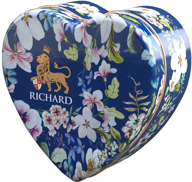 Richard Royal Heart черный крупнолистовой чай с добавками, 30 г100191Маленький милый подарок даме в знак внимания на каждый день в исполнении английского цветочного орнамента. Чай черный цейлонский крупнолистовой, с ароматом цедры апельсина, бергамота, ванили и лепестками василька.