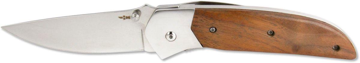 Нож складной Ножемир Чёткий расклад, общая длина 21,4 см. C-150C-150Бренд: Ножемир длина клинка, мм: 89 толщина клинка, мм: 2,8 общая длина, мм: 214 материал рукояти: стабилизированное дерево сталь: 40Х13 твёрдость стали, HRC: 55 — 56 особенность: зеркальная полировка; liner lock; клипса