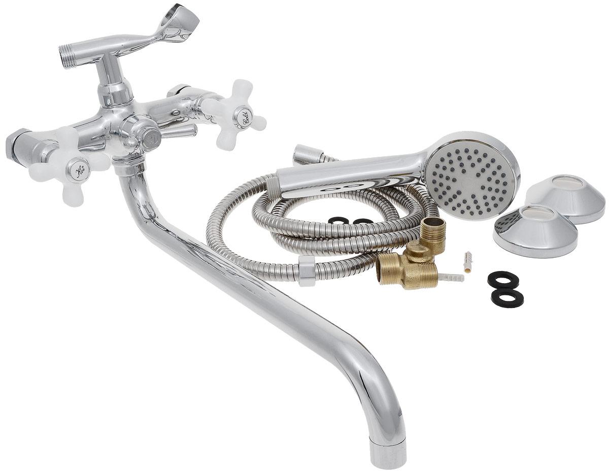 Смеситель для ванны и душа РМС, с длинным поворотным изливом, цвет: хром. SL69-143SL69-143Двуручковый смеситель для ванной комнаты РМС предназначен для смешивания холодной и горячей воды. Выполнен из высококачественной латуни повышенной прочности, устойчивой к коррозии. Кран-букса латунная с керамическими пластинами, угол поворота 180°. Оснащен длинным изливом. Переключение на душ - шаровое. Аэратор выполнен из пластика. В комплекте: эксцентрики, отражатели, металлический шланг для душа 1,5 м, лейка для душа. Максимальное давление: 10 бар. Испытательное давление: 16 бар. Рекомендуемое давление: 1-5 бар, при давлении выше 6 бар рекомендуется использовать регулятор давления. Максимально допустимая температура: +80°С. Рекомендуемая температура: +65°С. Размер присоединения к угловому вентилю для умывальника: гайка 1/2. Кран-букса керамическая: 1/2. Длина излива: 35 см.