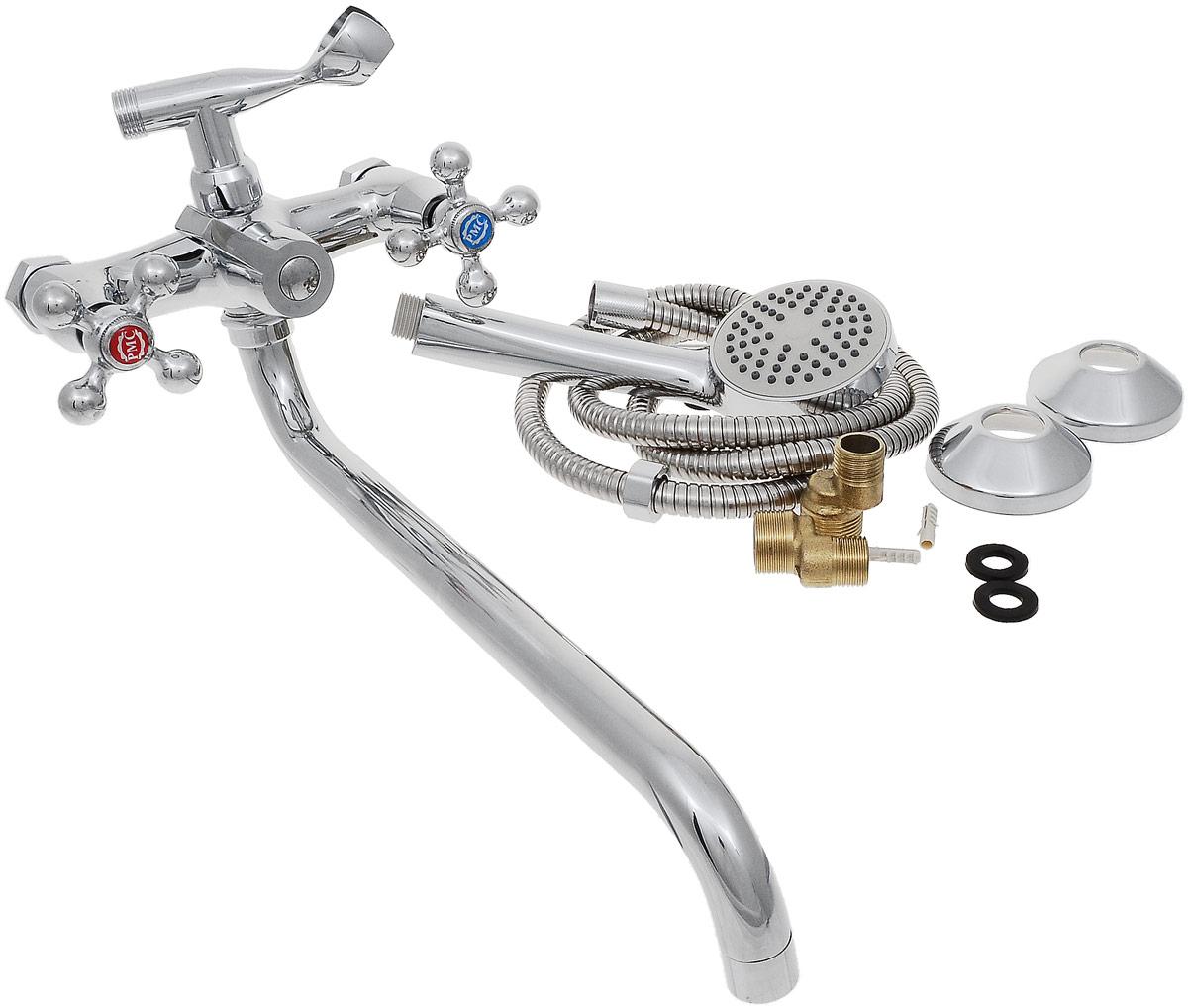 Смеситель для ванны и душа РМС, с длинным поворотным изливом, цвет: хром. SL67-140-1SL67-140-1Двуручковый смеситель для ванной комнаты РМС предназначен для смешивания холодной и горячей воды. Выполнен из высококачественной латуни повышенной прочности, устойчивой к коррозии. Кран-букса латунная с керамическими пластинами, угол поворота 180°. Оснащен длинным изливом. Переключение на душ - картриджное. Аэратор выполнен из пластика. В комплекте: эксцентрики, отражатели, металлический шланг для душа 1,5 м, лейка для душа. Максимальное давление: 10 бар. Испытательное давление: 16 бар. Рекомендуемое давление: 1-5 бар, при давлении выше 6 бар рекомендуется использовать регулятор давления. Максимально допустимая температура: +80°С. Рекомендуемая температура: +65°С. Размер присоединения к угловому вентилю для умывальника: гайка 1/2. Кран-букса керамическая: 1/2. Длина излива: 35 см.