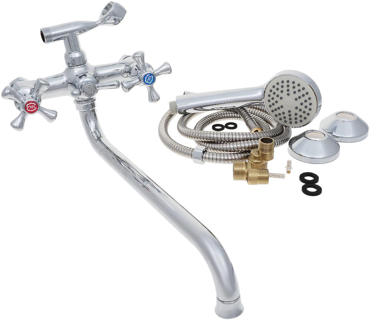 Смеситель для ванны и душа РМС, с длинным изливом, цвет: хром. SL70-143BA900Двуручковый смеситель для ванной комнаты РМС предназначен для смешивания холодной и горячей воды. Выполнен из высококачественной латуни повышенной прочности, устойчивой к коррозии. Кран-букса латунная с керамическими пластинами, угол поворота 180°. Оснащен длинным изливом. Переключение на душ - шаровое. Аэратор выполнен из пластика. В комплекте: эксцентрики, отражатели, металлический шланг для душа 1,5 м, лейка для душа.Максимальное давление: 10 бар.Испытательное давление: 16 бар.Рекомендуемое давление: 1-5 бар, при давлении выше 6 бар рекомендуется использовать регулятор давления.Максимально допустимая температура: +80°С.Рекомендуемая температура: +65°С.Размер присоединения к угловому вентилю для умывальника: гайка 1/2.Кран-букса керамическая: 1/2.Длина излива: 35 см.