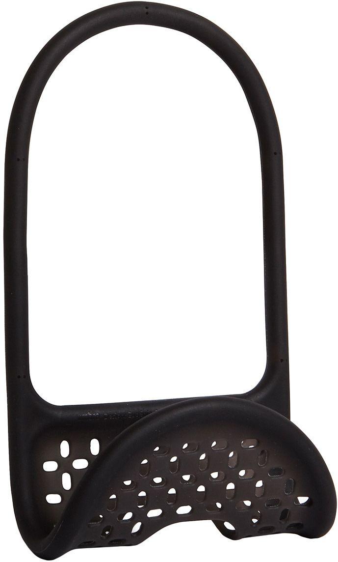 Органайзер для раковины Umbra Sling, цвет: черныйVT-1520(SR)Уникальный органайзер для раковины из металлической проволоки с пластиковым покрытием. Ручка удобно гнётся и позволяет вешать органайзер на водопроводный кран или боковую сторону раковины.Подходит для хранения губок, щёток и прочих приспособлений для чистки и мытья. Перфорация даёт воздуху свободно циркулировать, поэтому губки и щётки будут сохнуть быстрее. Дизайнеры Eugenie de Loynes и Jordan Murphy
