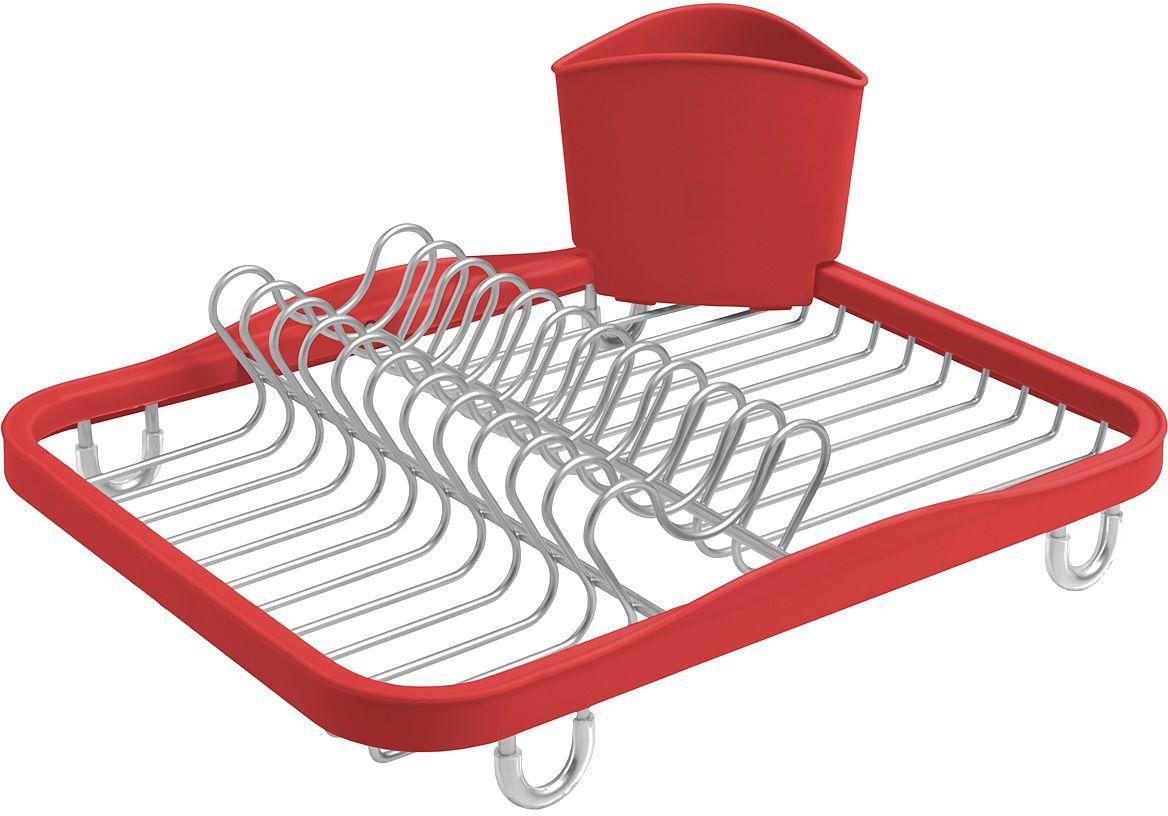 Сушилка для посуды Umbra Sinkin, цвет: красный330065-718Функциональная сушилка Sinkin в новой цветовой вариации. Предусмотрены отсеки для тарелок и чашек. Съемный пластиковый контейнер удобен для сушки столовых приборов. Благодаря специальным ножкам вода стекает в раковину, не застаиваясь под посудой. Пластиковые насадки на ножках оберегают раковину от царапин. Металлическая решетка и пластиковое обрамление легко очищаются от загрязнений. Дизайн: Helen T. Miller