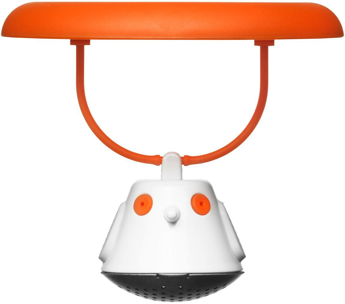 Емкость для заваривания чая QDO Birdie Swing, с крышкой, цвет: оранжевый567395Оригинальная емкость для заваривания чая в виде небольшой птички. Снабжена крышкой для кружки, с помощью которой можно быстро и безопасно приготовить любимый напиток. Одним легким движением откройте стальной фильтр, наполните его необходимым количеством чайных листьев, так же легко закройте и поместите в горячую воду. Крышка не только поможет чаю завариться быстрее, но и убережет ваши пальцы от возможного нагревания. Когда чай готов, просто поднимите крышку, переверните и положите на стол. Вся жидкость с заварника будет стекать в нее, как в поднос - очень удобно. Емкость можно мыть в посудомоечной машине. Материал - нержавеющая сталь и пластик без содержания бисфенола-А.