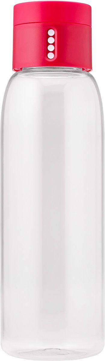 Бутылка для воды Joseph Joseph Dot, 600 мл, цвет: розовый81051Уникальная бутылка, которая поможет вам контролировать ежедневное потребление воды. Инновационная крышка со счетчиком запомнит каждое наполнение бутылки в течение дня. Просто закрутите крышку до появления точки, а для питья используйте верхнюю крышку. Новая точка появится каждый раз, когда бутылка заново заполнена и крышка закручена. Из гладкого литого носика бутылки удобно пить, а широкое горлышко идеально для насыпания льда и мытья. Герметичная крышка надежно защитит содержимое от вытекания. Бутылка изготовлена из экологичного и удапрочного материала Tritan. Объем - 600 мл.
