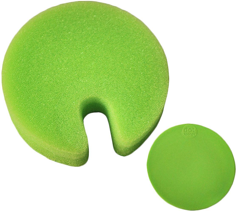 Губка Fabrikators Dot с держателем, цвет: зеленый10503Благодаря прочной присоске, держатель с губкой можно зафиксировать в раковине, шкафу или на керамической плитке. Таким образом, у вас под рукой всегда будет готовое к использованию средство. Губки быстро сохнут. Можно мыть в посудомоечной машине.