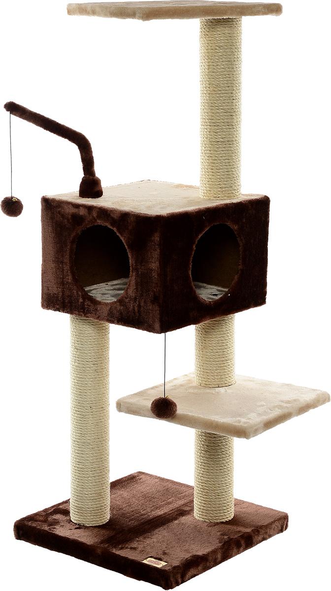Игровая площадка для кошек Fauna Revizo, цвет: коричневый, бежевый, 45 см х 45 см х 121 см0120710Многофункциональная игровая площадка Fauna Revizo обязательно понравится вашей кошке и станет ее излюбленным местом для отдыха и игр. Площадка изготовлена из ДВП и обтянута мягким плюшевым текстилем. Имеет несколько уровней: домик с двумя отверстиями и 3 плоские полки. Для игр предусмотрена подвесная игрушка на веревке, а чтобы поточить когти - несколько столбиков-когтеточек. Площадка сконструирована так, чтобы кошка подумала, что перед ней большое дерево, на которое можно вскарабкаться. В домик кошка может забраться, чтобы спрятаться и поспать, а полки станут прекрасным местом для развлечений и наблюдением за происходящим. Оригинальный дизайн прекрасно впишется в интерьер вашего дома. Игровые площадки Fauna созданы с любовью, вниманием и заботой о ваших кошках. Этим пушистым непоседам нравится играть и прыгать, забираться повыше, точить когти, прятаться в укромных местах и сладко спать в теплых уютных домиках. Компания Fauna International представляет новую серию современных игровых площадок для веселых игр и сладких снов!