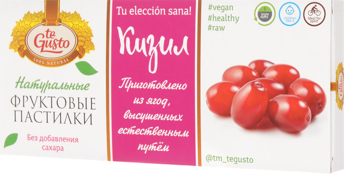 te Gusto Фруктовые пастилки из кизила, 40 г4657155301436Фруктовые пастилки te Gusto без ГМО, глютена, сои, сахара, фруктозы, красителей, усилителей вкуса, загустителей. В составе только один ингредиент - плод, выращенный в экологически чистом районе. Особый способ измельчения плодов позволяет сохранить витамины в первозданном виде. Данный продукт создан для людей, ведущих здоровый образ жизни и уделяющих большое внимание своему питанию. Для спортсменов - это полезный и питательный перекус, для вегетарианцев - сладость, не содержащая продуктов животного происхождения, для детей - натуральное лакомство, которое, единожды попробовав, они предпочитают шоколадкам, и для всех, вне зависимости от возраста и систем питания, - здоровый продукт без красителей, консервантов и подсластителей.