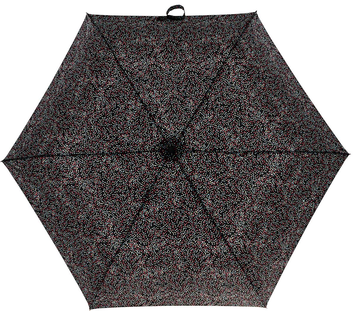 Зонт женский Fulton Superslim, механический, 3 сложения, цвет: черный, мультиколор. L553-3027L553-3027 MultiDotСтильный механический зонт Fulton Superslim в 3 сложения даже в ненастную погоду позволит вам оставаться элегантной. Облегченный каркас зонта выполнен из 6 спиц из фибергласса и алюминия, стержень также изготовлен из алюминия, удобная рукоятка - из пластика. Купол зонта выполнен из прочного полиэстера. В закрытом виде застегивается хлястиком на липучке. Яркий оригинальный принт в виде мелкого горошка поднимет настроение в дождливый день. Зонт механического сложения: купол открывается и закрывается вручную до характерного щелчка. На рукоятке для удобства есть небольшой шнурок, позволяющий надеть зонт на руку тогда, когда это будет необходимо. К зонту прилагается чехол, который дополнительно застегивается на липучку, с металлическим элементом с названием бренда. Такой зонт компактно располагается в кармане, сумочке, дверке автомобиля.