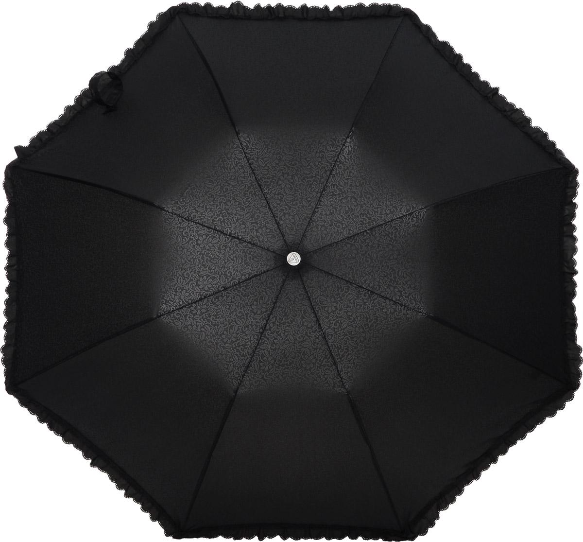 Зонт женский Fulton Contessa-2, механический, 2 сложения, цвет: черный. L731-27618L035081M/35449/2900NСтильный механический зонт Fulton Contessa-2 в 2 сложения даже в ненастную погоду позволит вам оставаться элегантной. Облегченный каркас зонта выполнен из 8 стальных спиц, стержень также изготовлен из стали, удобная рукоятка - из пластика, обтянутого натуральной кожей. Купол зонта выполнен из прочного полиэстера и оформлен изящным принтом и по краю декорирован оборкой. В закрытом виде застегивается хлястиком на липучку. Зонт механического сложения: купол открывается и закрывается вручную до характерного щелчка. К зонту прилагается чехол на кнопке.Такой зонт станет прекрасным аксессуаром для любой модницы.