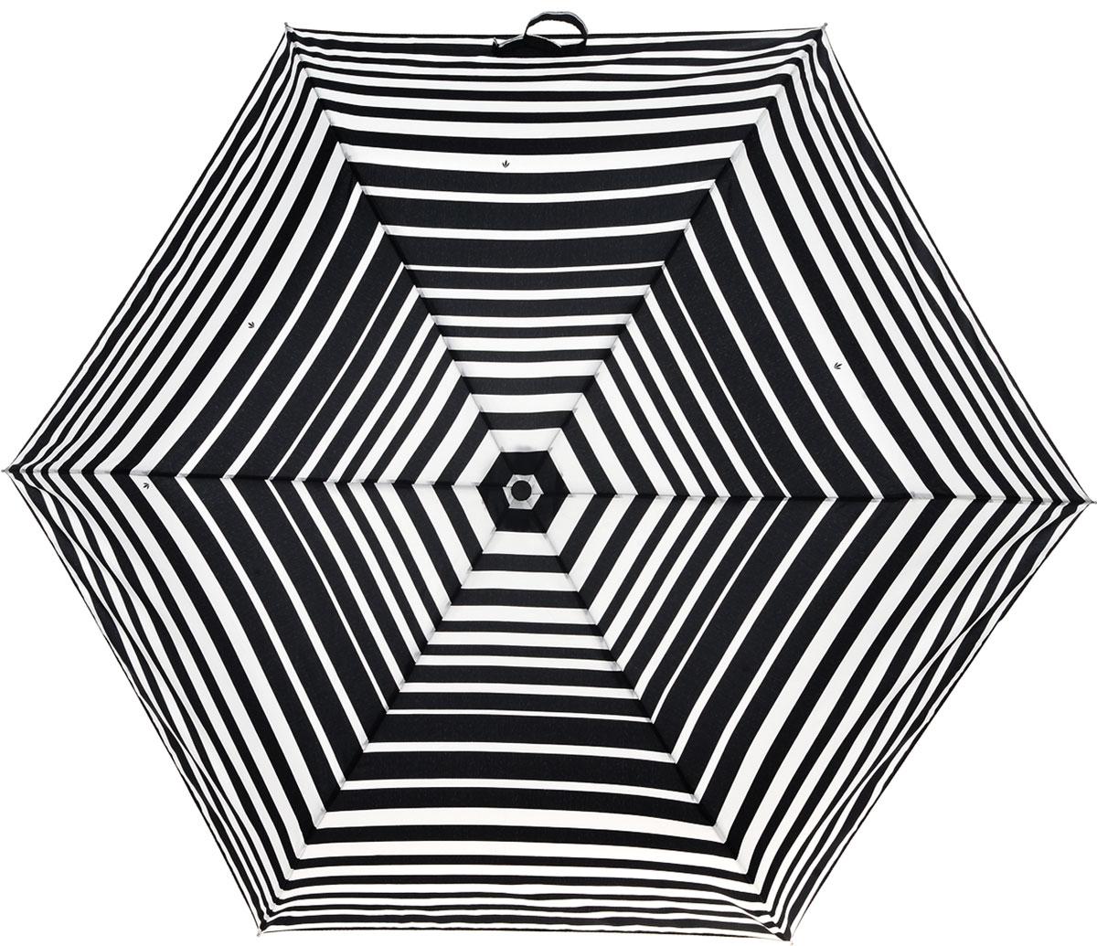 Зонт женский Fulton Superslim, механический, 3 сложения, цвет: черный, белый. L553-31543.7-12 navyСтильный механический зонт Fulton Superslim в 3 сложения даже в ненастную погоду позволит вам оставаться элегантной. Облегченный каркас зонта выполнен из 6 спиц из фибергласса и алюминия, стержень также изготовлен из алюминия, удобная круглая рукоятка - из пластика. Купол зонта выполнен из прочного полиэстера и оформлен принтом в полоску. В закрытом виде застегивается хлястиком на липучку. Зонт механического сложения: купол открывается и закрывается вручную до характерного щелчка. На рукоятке для удобства есть небольшой шнурок, позволяющий при необходимости надеть зонт на руку. К зонту прилагается чехол, который дополнительно застегивается на липучку.Такой зонт компактно располагается в глубоком кармане, сумочке, дверке автомобиля.