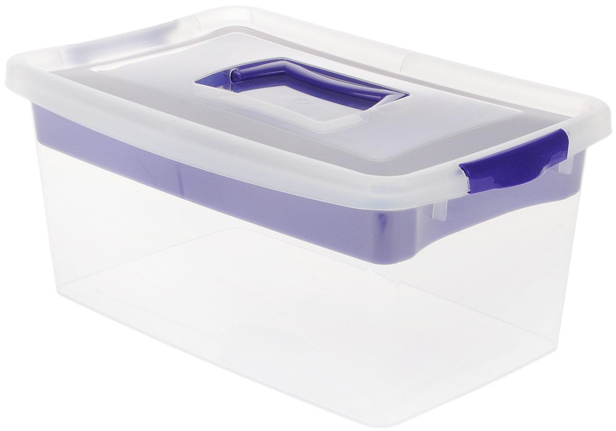 Контейнер для хранения Idea, с вкладышем, цвет: прозрачный, фиолетовый, 9 лМ 2874_фиолетовыйКонтейнер для хранения Idea выполнен из высококачественного полипропилена. Изделие оснащено двумя пластиковыми фиксаторами по бокам, придающими дополнительную надежность закрывания крышки. Вместительный контейнер позволит сохранить различные нужные вещи в порядке, а герметичная крышка предотвратит случайное открывание, защитит содержимое от пыли и грязи. Внутри имеется съемный вкладыш с одним большим отделением и тремя поменьше. Объем: 9 л. Размер контейнера (с учетом крышки): 36,8 х 24,3 х 17 см.