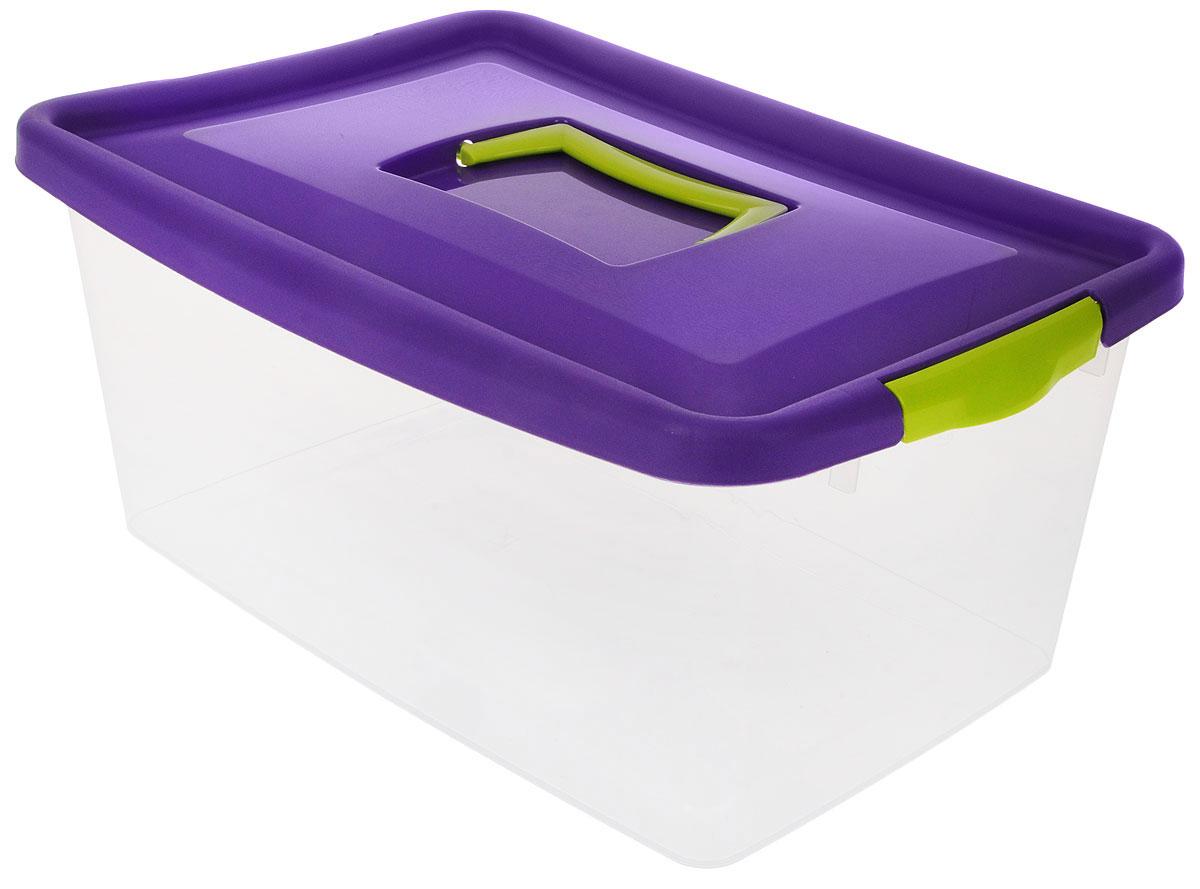 Контейнер для хранения Idea, цвет: прозрачный, фиолетовый, салатовый, 9 л10503Контейнер для хранения Idea выполнен из высококачественного полипропилена. Изделие оснащено двумя пластиковыми фиксаторами по бокам, придающими дополнительную надежность закрывания крышки. Вместительный контейнер позволит сохранить различные нужные вещи в порядке, а герметичная крышка предотвратит случайное открывание, защитит содержимое от пыли и грязи. Объем: 9 л.Размер контейнера (с учетом крышки): 36,8 х 24,3 х 17 см.