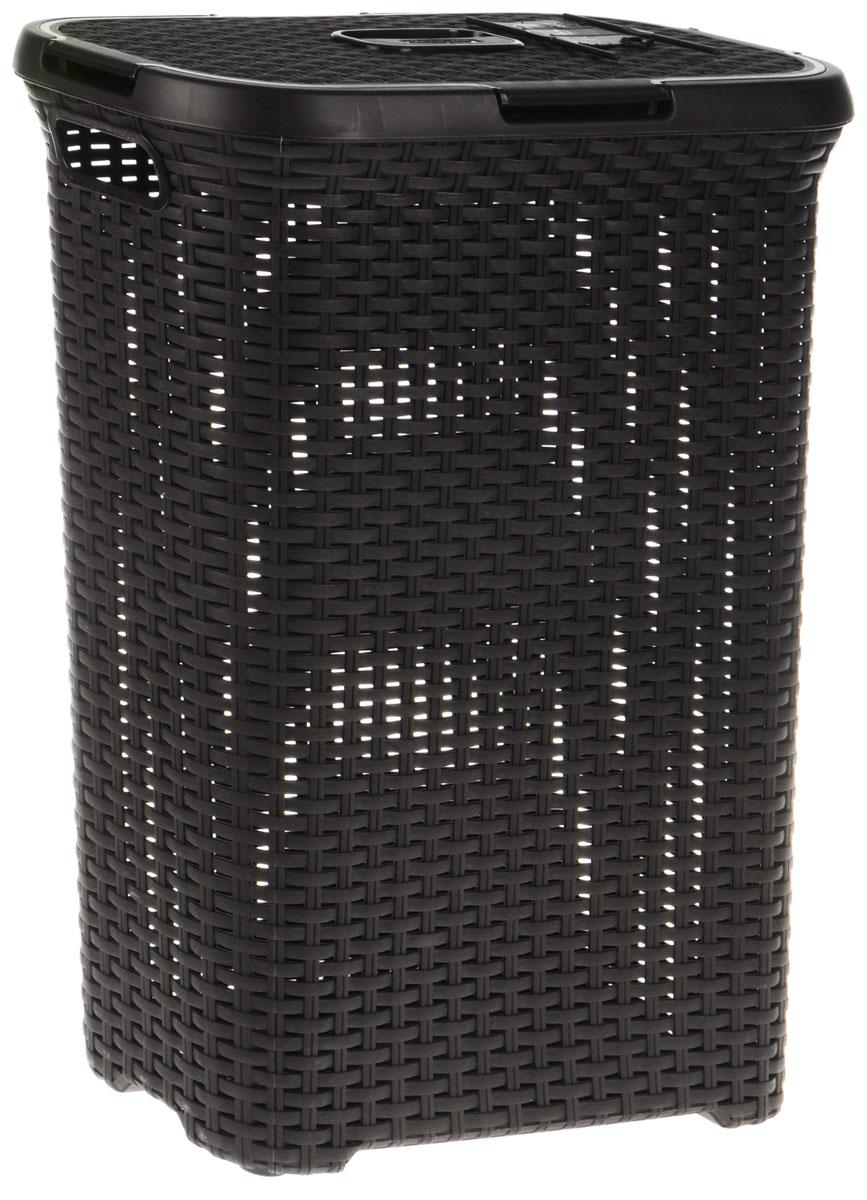 "Корзина для белья Curver ""Rattan Style"", цвет: темно-коричневый, 40 л 00709-210-00"