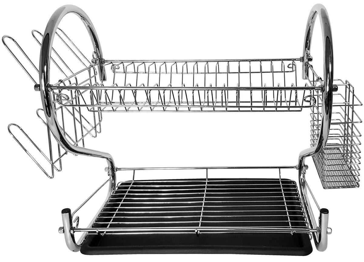Cушилка для посуды Tatkraft Helga, двухуровневая10857Tatkraft HELGA Двухуровневая хромированная сушилка для посуды со съемным держателем для стаканов и столовых приборов и съемным подносом для сбора воды. Легко мыть быстра сборка не ржавеет. Размеры 39 х 56 х 25 см.
