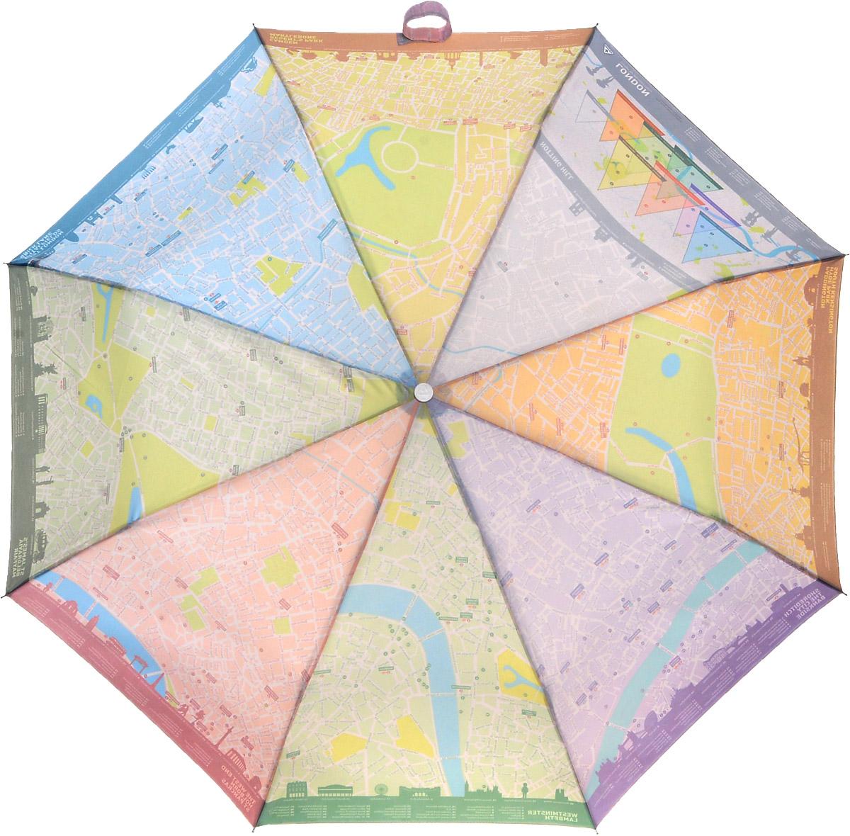 """Зонт женский Fulton London Map, механический, 3 сложения, цвет: белыйL761 3S2396Стильный складной зонт Fulton """"London Map"""" даже в ненастную погоду позволит вам оставаться женственной и элегантной. """"Ветростойкий"""" стальной каркас зонта в 3 сложения состоит из восьми металлических спиц, стержень изготовлен из стали. Зонт оснащен удобной рукояткой из прорезиненного пластика. Купол зонта выполнен из прочного полиэстера белого цвета и с внутренней стороны оформлен изображением карты Лондона. На рукоятке для удобства есть небольшой шнурок, позволяющий надеть зонт на руку тогда, когда это будет необходимо. К зонту прилагается чехол. Зонт механического сложения: купол открывается и закрывается вручную, стержень также складывается вручную до характерного щелчка. Характеристики: Материал: металл, полиэстер, пластик. Цвет: белый. Диаметр купола: 96 см. Длина зонта в сложенном виде: 25 см. Длина ручки (стержня) в раскрытом виде: 56 см. Вес: 350 г. Артикул: L761 3S2396."""