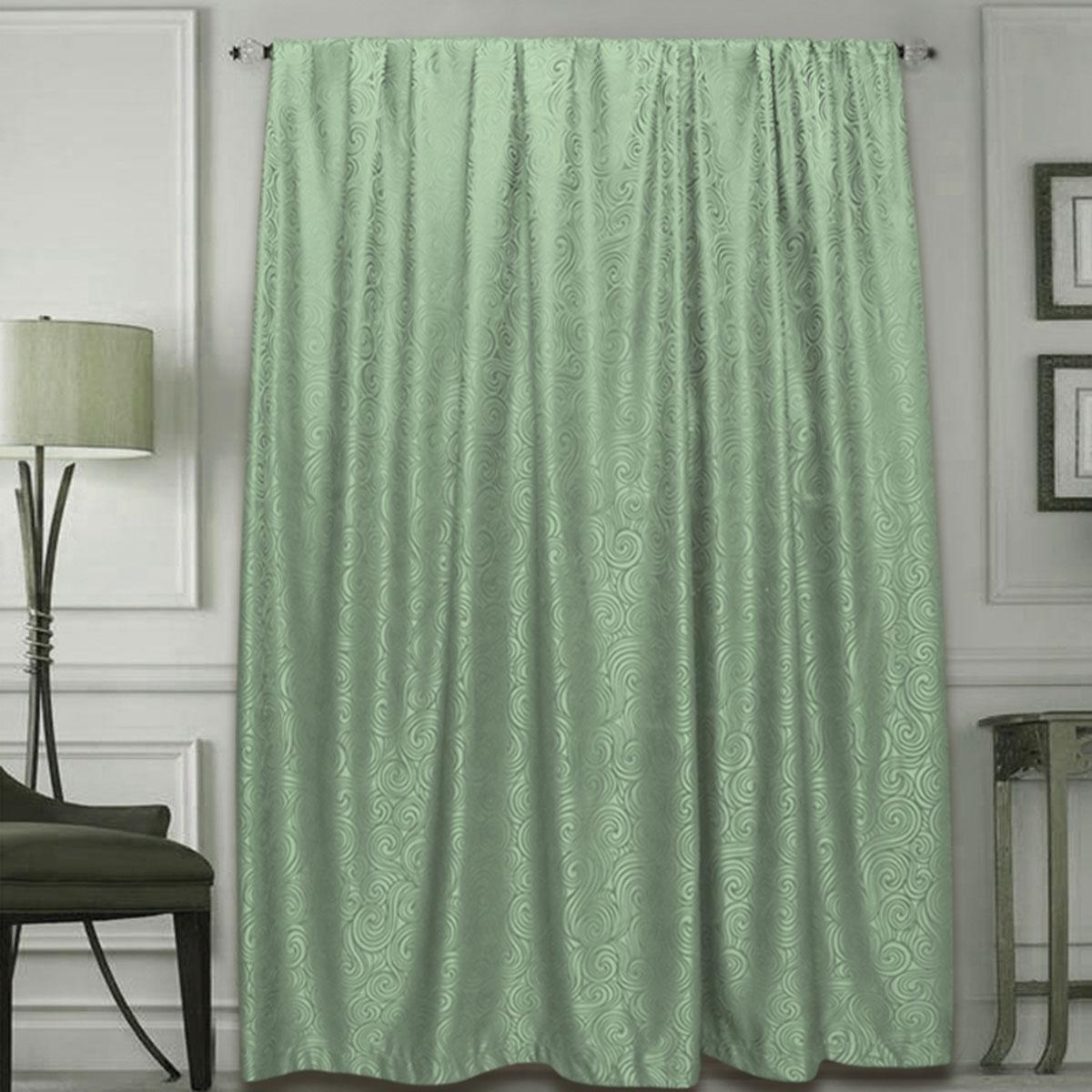 Штора Amore Mio, на ленте, цвет: зеленый, высота 270 см77633Готовая штора Amore Mio - это роскошная портьера для яркого и стильного оформления окон и создания особенной уютной атмосферы. Она великолепно смотрится как одна, так и в паре, в комбинации с нежной тюлевой занавеской, собранная на подхваты и свободно ниспадающая естественными складками. Такая штора, изготовленная полностью из прочного и очень практичного полиэстера, долговечна и не боится стирок, не сминается, не теряет своего блеска и яркости красок.