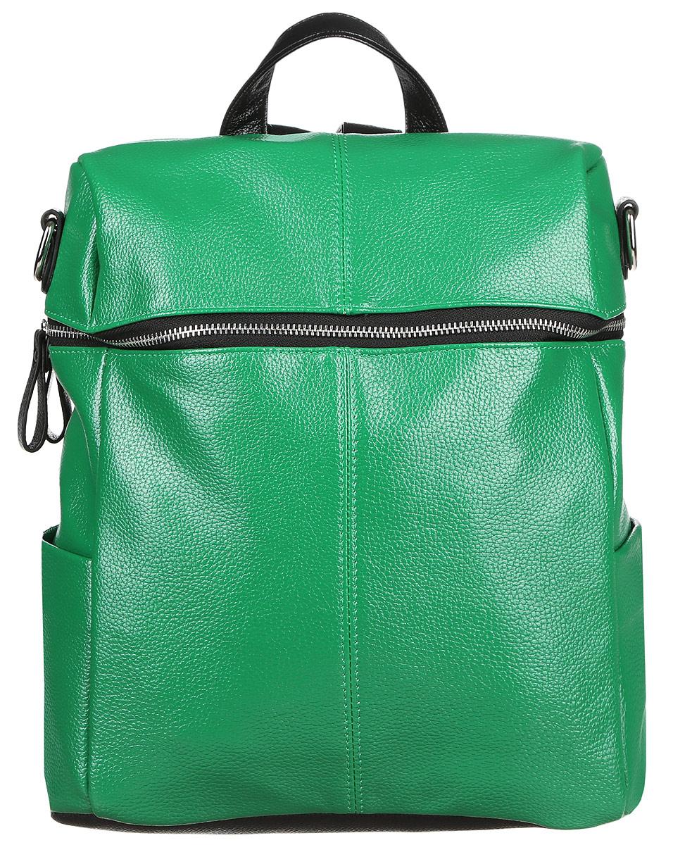 Рюкзак женский OrsOro, цвет: зеленый. D-243/21D-243/21Стильный рюкзак OrsOro, выполнен из экокожи и оснащен двумя плечевыми регулируемыми ремнями на спинке и удобной ручкой для переноски. Изделие закрывается на застежку-молнию, внутри имеет одно вместительное отделение с одним накладным карманом для телефона и мелочей и одним прорезным карманом на застежке-молнии. С тыльной стороны изделия имеется прорезной карман на застежке-молнии. Рюкзак оснащен также двумя боковыми карманами для мелочей. Сумка-рюкзак OrsOro - это выбор молодой, уверенной, стильной женщины, которая ценит качество и комфорт. Изделие станет изысканным дополнением к вашему образу.