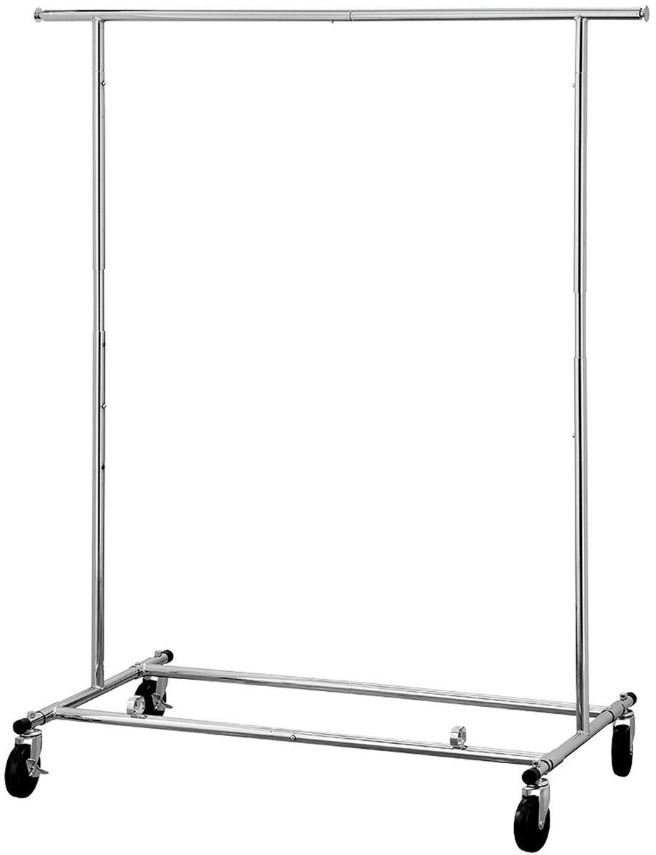 Стойка для одежды Tatkraft Drogo, на колесах складная13421Tatkraft Drogo Сверхмощная стойка для одежды на колесах складная из хромированной стали, выдерживает вес до 100 кг, регулируемая высота (144-169 см) и длина (127,5 - 187), общая длина для вывешивания 1,8 м (2 выдвижные панки по 29 см)