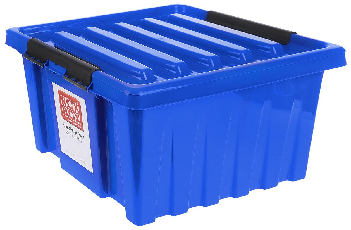 Контейнер для хранения Роксор, цвет: синий, черный, 36 л212606Контейнер Роксор выполнен из полипропилена, предназначен для хранения пищевых продуктов, инструментов, швейных принадлежностей, бумаг и многого другого. Универсальный контейнер для хранения с крышкой оснащен оригинальными ручками-фиксаторами, которые надежно и плотно удерживают крышку в закрытом положении. Толстые стенки и ребра жесткости придают ящикам особую прочность, уменьшая риск повреждения как самого ящика, так и его содержимого.