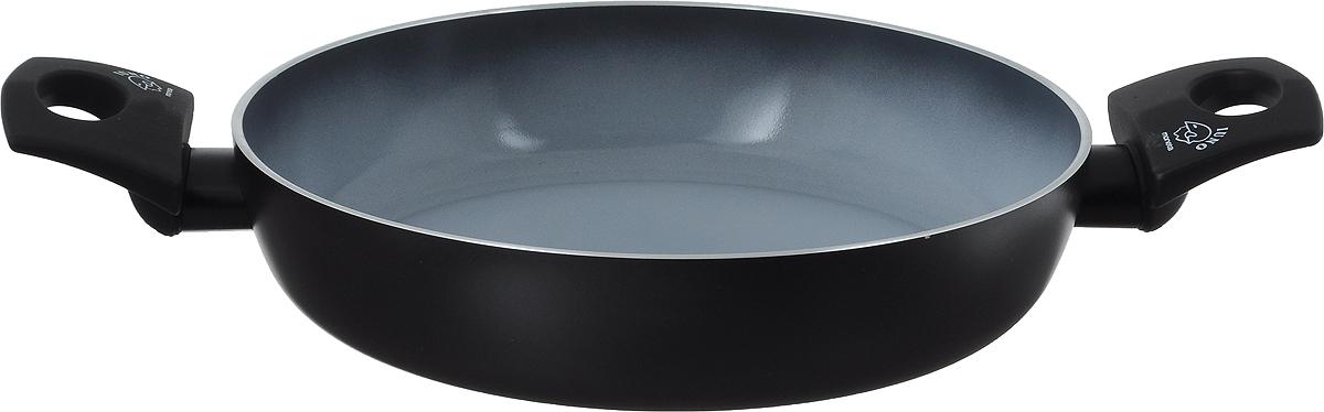 Сотейник Moneta Buongusto, с керамическим покрытием. Диаметр 24 смM8710224Сотейник Moneta Buongusto изготовлен из литого алюминия с высококачественным керамическим покрытием. Такое покрытие предотвращает пригорание пищи и ее прилипание к стенкам. Оно абсолютно безопасно для здоровья и не выделяет вредных веществ во время готовки. Тепло распределяется равномерно по всей поверхности посуды, что позволяет пище готовиться быстрее. Сотейник оснащен эргономичными ручками с покрытием soft-touch. Такие ручки не нагреваются в процессе приготовления пищи и не дают вашим рукам обжечься. Посуда подходит для всех типов плит, включая индукционные. Можно мыть в посудомоечной машине. Высота стенки: 5,3 см. Ширина сотейника (с учетом ручек): 17,5 см.
