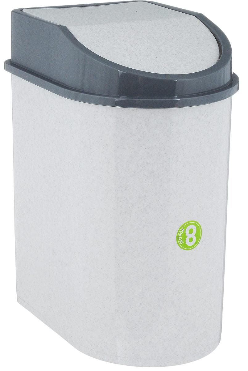 Контейнер для мусора Idea, цвет: мраморный, серый, 8 лМ 2481Мусорный контейнер Idea, выполненный из прочного полипропилена (пластика), не боится ударов и долгих лет использования. Изделие оснащено плавающей крышкой, с помощью которой его легко использовать. Крышка плотно прилегает, предотвращая распространение запаха. Вы можете использовать такой контейнер для выбрасывания разных пищевых и не пищевых отходов. Контейнер может пригодиться также в ванной комнате или у туалетного столика.