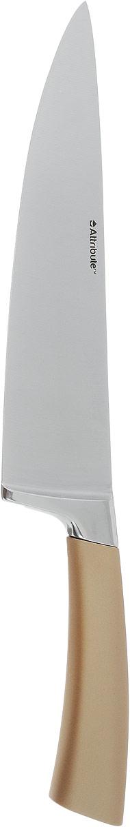 Нож поварской Attribute Knife Tango, цвет: золотой, стальной, длина лезвия 19,5 смAKT720Нож поварской Attribute Knife Tango изготовлен из первоклассной нержавеющей стали и предназначен для нарезки овощей, фруктов, рыбы и мяса без костей. Лезвие сделано из высококачественной хромо-молибденово- ванадиевой стали из Германии. Технология холодной закалки обеспечивает долгую заточку и повышенную устойчивость к коррозии. Такой нож станет прекрасным дополнением к коллекции ваших кухонных аксессуаров и не займет много места при хранении. Общая длина ножа: 33 см.