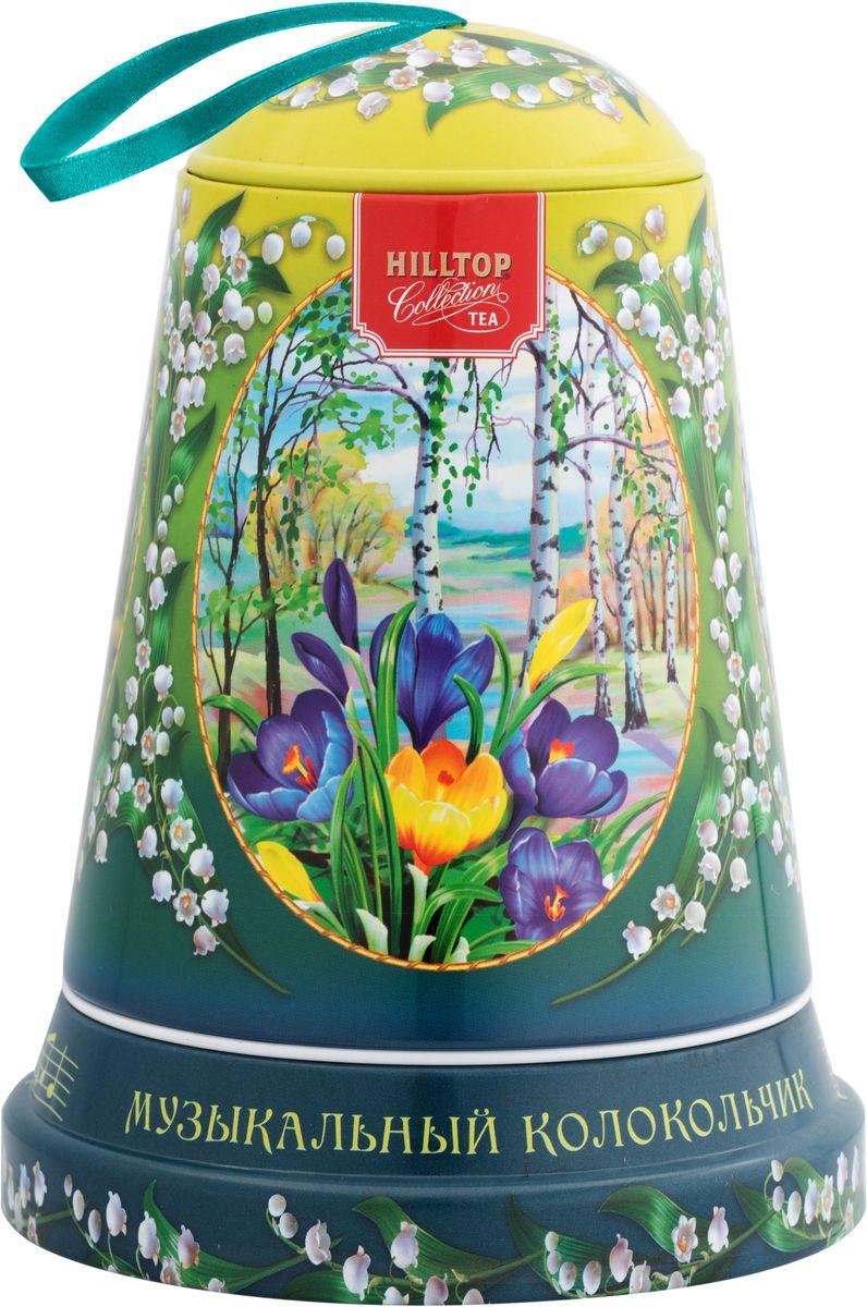Hilltop Музыка весны черный листовой чай Подарок Цейлона в музыкальном колокольчике, 100 г4607099307971Чай Черный лист - особо крупнолистовой цейлонский черный чай с насыщенным ароматом и терпким послевкусием.