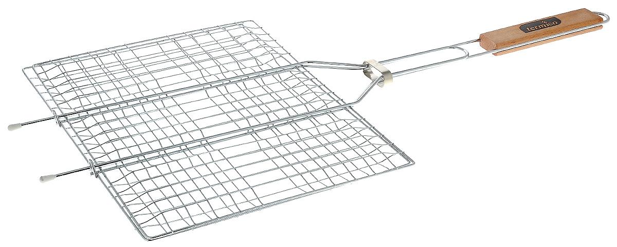 Решетка-гриль Termico, 35 х 25 х 1,5 см120102Решетка-гриль Termico предназначена для приготовления мяса, шашлыков, окороков, колбасок, сосисок, рыбы, овощей и прочих продуктов на открытой шашлычнице, в камине, на костре. Решетка изготовлена из высококачественной стали с хромированным покрытием, что облегчает процесс мытья решетки. Деревянная ручка облегчает эксплуатацию изделия и исключает возможность получения ожога. В производстве используются только экологически чистые материалы. Приготовления продуктов с помощью решетки не требует использования жиров и масел, поэтому в продуктах сохраняются все полезные компоненты и не образуются вредные для организма вещества. Размер решетки: 35 х 25 х 1,5 см. Общая длина решетки (с ручкой): 60 см.