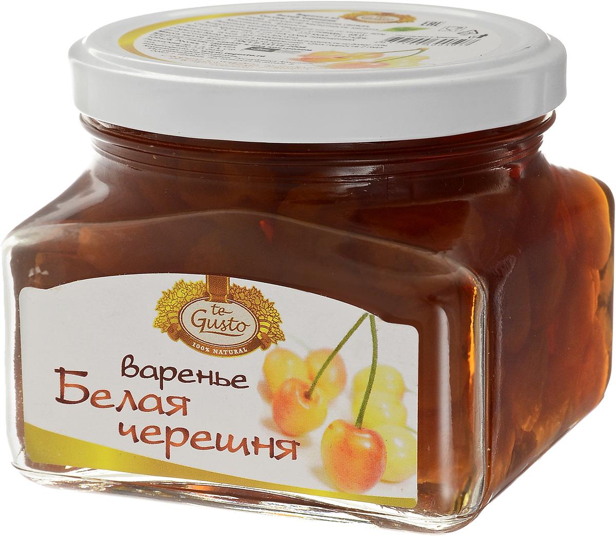 te Gusto Варенье из белой черешни, 430 г0120710На сегодняшний день в мире насчитывается около четырех тысяч сортов черешни. Однако все они произошли от одного вида - так называемой птичьей вишни. Чем же полезна черешня? Во-первых, в ней содержится большое количество витаминов (среди них витамины С, Е, группы витаминов В и другие). Также эти ягоды богаты марганцем, йодом, фосфором, железом, магнием. Практически без ограничений черешню могут кушать и люди, страдающие диабетом, ведь в ней содержится до 75 % сложных углеводов - фруктозы. Так как кушать такую полезную ягоду хочется не только летом, но и зимой, и поэтому особой популярностью пользуется варенье из белой черешни.Уважаемые клиенты! Обращаем ваше внимание, что полный перечень состава продукта представлен на дополнительном изображении.