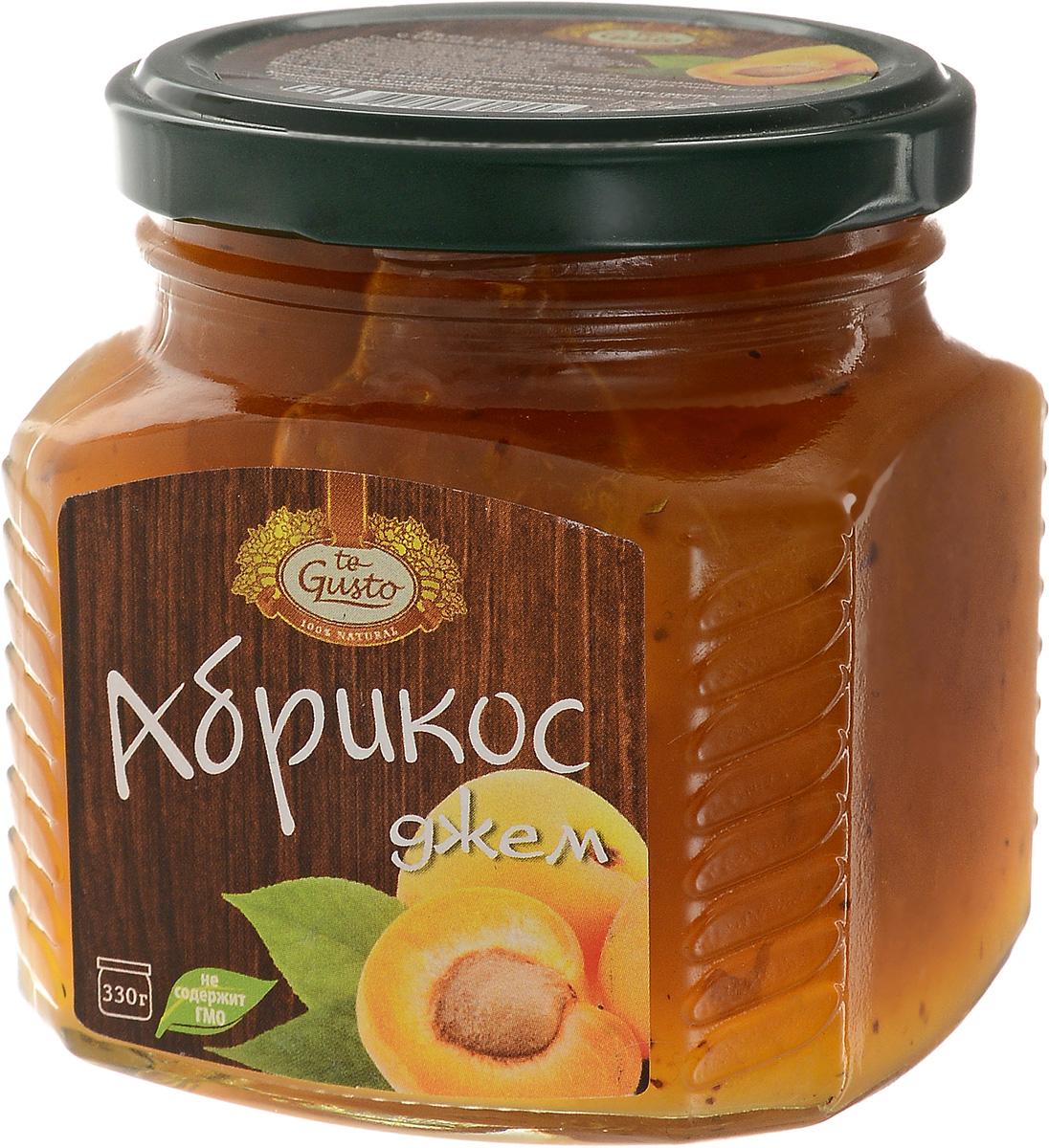 te Gusto Джем из абрикосов, 330 г4657155301290Ароматный джем te Gusto сварен из абрикосов, имеет желеобразную консистенцию с крупными кусочками фруктов. Для приготовления используются только свежие, тщательно отобранные плоды, созревшие в экологически чистых местах. Продукт не содержит ГМО. Абрикос, входящий в состав джема очень полезен для организма, так как содержит большое количество витаминов, таких как А, В, С, Е, Р, РР , а также микро- и макроэлементов, среди которых фосфор, калий, магний, натрий, железо и йод. Абрикосы способствуют пищеварению, выводят из кишечника шлаки, улучшают работу сердечно-сосудистой системы, укрепляют иммунитет, помогают больным астмой, аритмией, ишемической болезни сердца. Уважаемые клиенты! Обращаем ваше внимание, что полный перечень состава продукта представлен на дополнительном изображении.