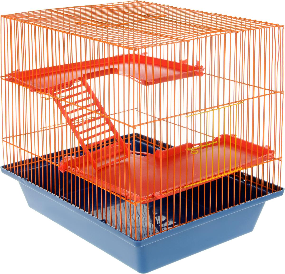 Клетка для грызунов ЗооМарк Гризли, 4-этажная, цвет: синий поддон, оранжевая решетка, красные этажи, 41 х 30 х 50 см0120710Клетка ЗооМарк Гризли, выполненная из полипропилена и металла, подходит для мелких грызунов. Изделие четырехэтажное. Клетка имеет яркий поддон, удобна в использовании и легко чистится. Сверху имеется ручка для переноски. Такая клетка станет уединенным личным пространством и уютным домиком для маленького грызуна.