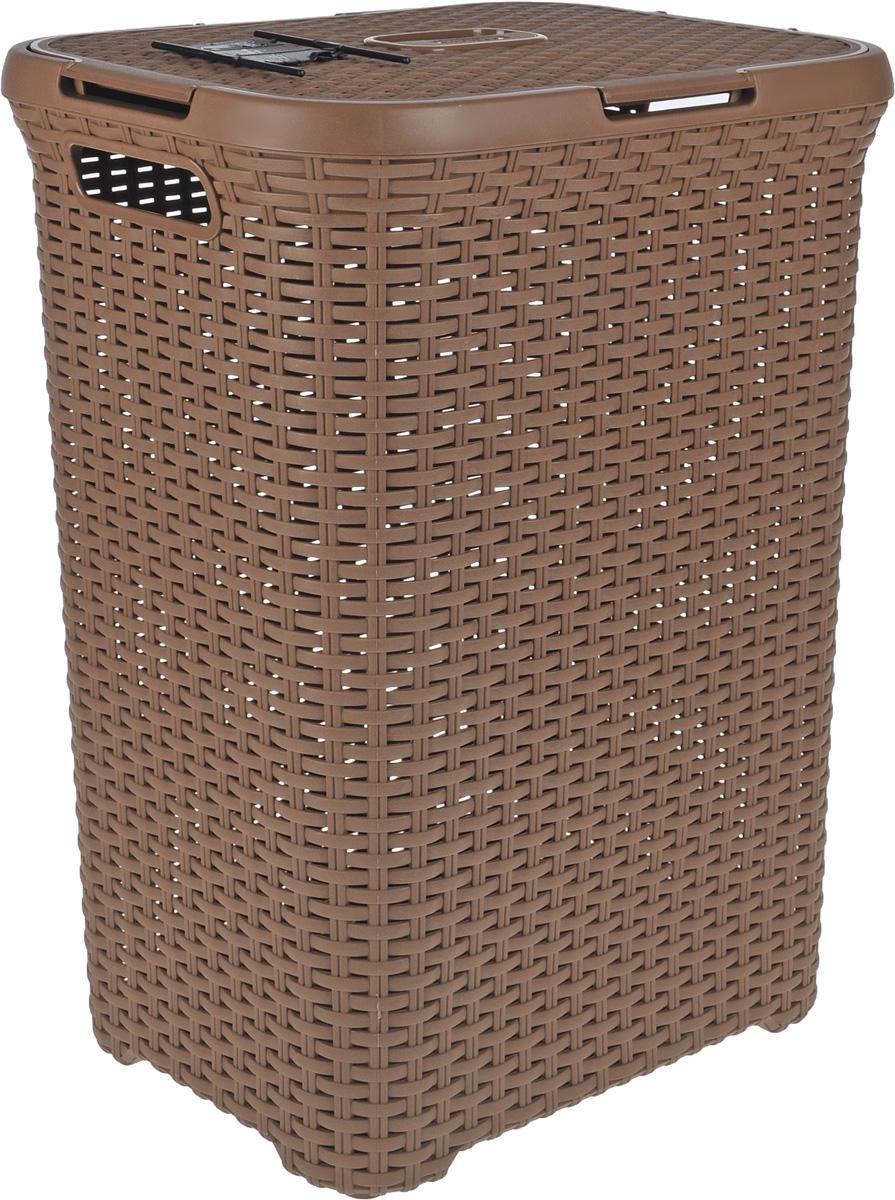 Корзина для белья Curver Rattan Style, цвет: коричневый, 60 л00707-213-01Корзина для белья Curver Rattan Style изготовлена из прочного полипропилена. Она отлично подойдет для хранения белья перед стиркой. Специальные отверстия на стенках создают идеальные условия для проветривания. Изделие оснащено удобными ручками. Крышка открывается в двух положениях. Такая корзина для белья прекрасно впишется в интерьер ванной комнаты. Размер корзины: 45 х 34 х 62 см.