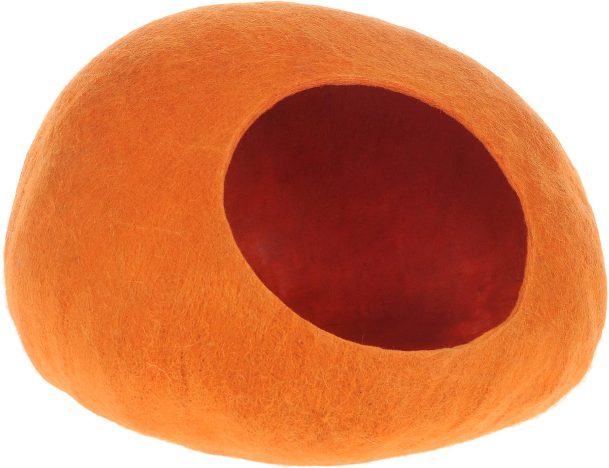 Домик-слипер для животных Zoobaloo WoolPetHouse, цвет: оранжевый, размер M домик слипер для животных zoobaloo woolpethouse с ушками цвет оранжевый размер m