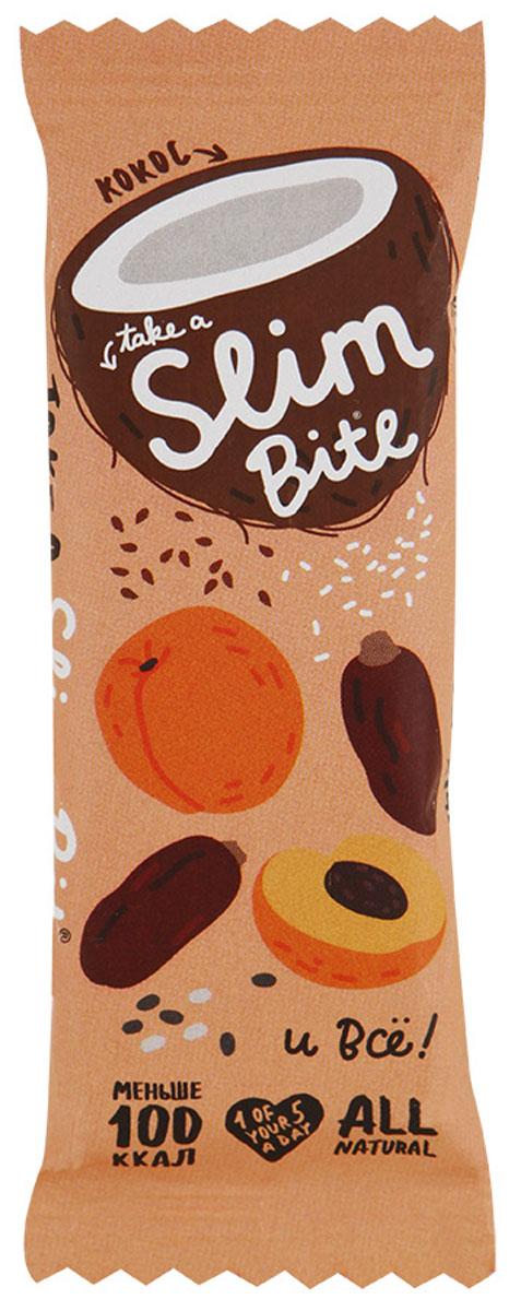 Take A Slim Bite Кокос батончик фруктово-ягодный, 30 г0120710Фруктово-ягодный батончик Take A Slim Bite - ничего лишнего: только финик, курага и много кокоса. Экзотический вкус натурального кокоса поднимет настроение и придаст энергии на весь день.Уважаемые клиенты! Обращаем ваше внимание, что полный перечень состава продукта представлен на дополнительном изображении.