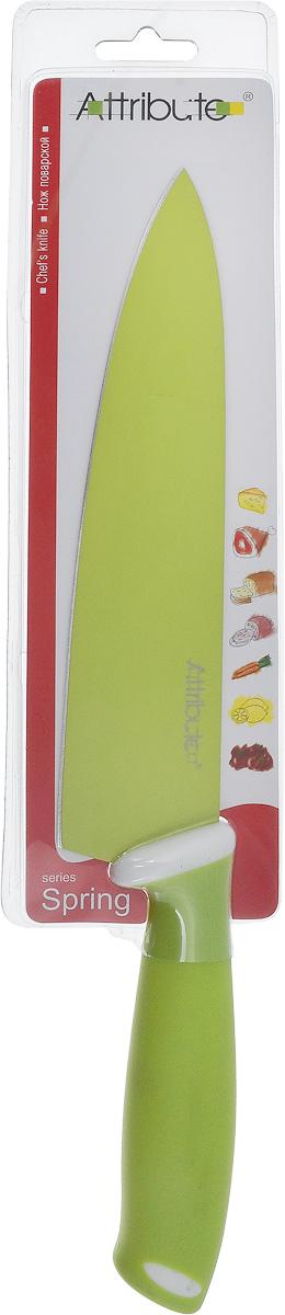 Нож поварской Attribute Knife Spring Green, длина лезвия 20 смAKZ520Поварской нож Attribute Knife Spring Green применяется для нарезки, шинковки, измельчения любых продуктов. Оснащен ручкой из резиновой смеси. Вес ножа идеально распределен для удобства работы. Остроконечное лезвие выполнено из высококачественной нержавеющей стали. Упор для пальцев предотвращает порез руки. Длина лезвия: 20 см. Общая длина ножа: 33 см.