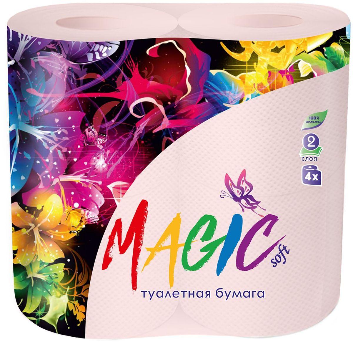 Туалетная бумага Magic Soft, цвет: розовый, 4 рулона20034Для бытового и санитарно-гигиенического назначения. Одноразового использования.