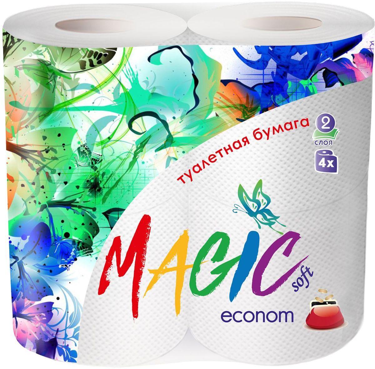 Туалетная бумага Magic Soft Econom, цвет: белый, 4 рулона20195Для бытового и санитарно-гигиенического назначения. Одноразового использования.
