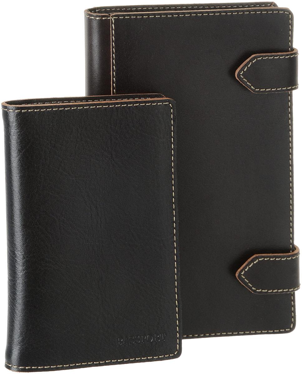 Подарочный набор Texas: обложка для паспорта, визитница, цвет: черный. V.21.TX/O.8.TXV.21.TX/O.8.TXПодарочный набор Texas состоит из обложки для паспорта и визитницы. Предметы набора выполнены из толстой натуральной кожи в винтажном стиле с контрастной отделочной строчкой. Трехрядная визитница Texas черного цвета - стильная вещь для хранения визиток. Визитница, закрывающаяся с помощью двух хлястиков на кнопки, предназначена для хранения 80 визиток. На внутреннем развороте - два кармана. Обложка для паспорта Texas черного цвета не только поможет сохранить внешний вид ваших документов и защитит их от повреждений, но и станет стильным аксессуаром, идеально подходящим вашему образу. На внутреннем развороте - два кармана из прозрачного пластика. Подарочный набор Texas станет великолепным подарком для человека, ценящего качественные и практичные вещи. Коллекция Texas (Техас) - это комбинация необычного нестандартного дизайна с необходимыми функциональными свойствами. Аксессуары коллекции прочны и практичны, в процессе эксплуатации природная...