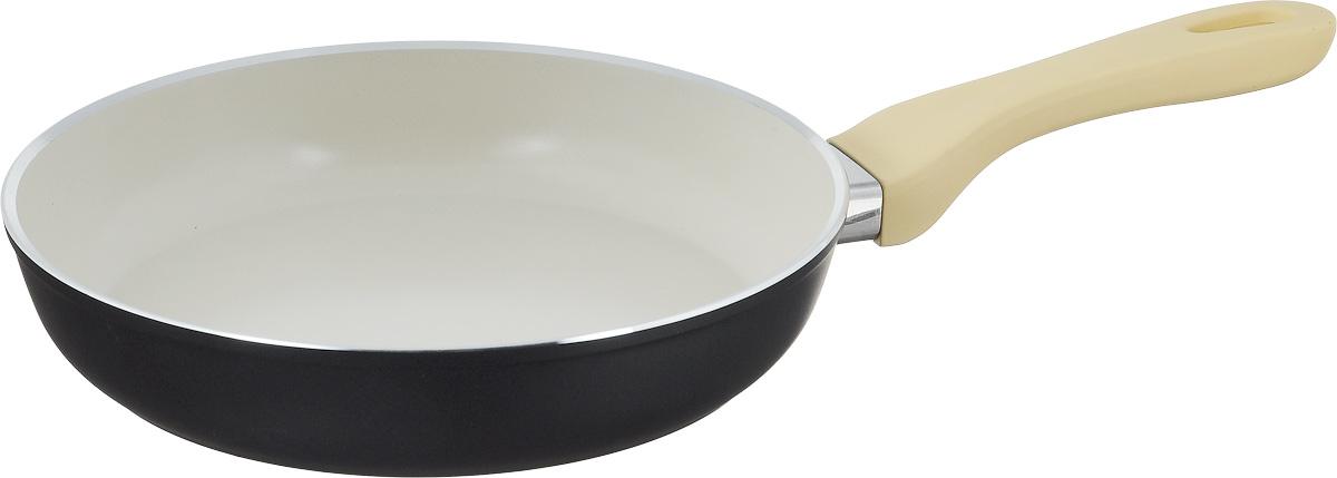 Сковорода Attribute Avorio, с керамическим покрытием. Диаметр 24 смCM000001326Сковорода Attribute Avorio изготовлена из алюминия с высококачественным керамическим покрытием. Керамика не содержит вредных примесей ПФОК, что способствует здоровому и экологичному приготовлению пищи. Кроме того, с таким покрытием пища не пригорает и не прилипает к стенкам, поэтому можно готовить с минимальным добавлением масла и жиров. Гладкая, идеально ровная поверхность сковороды легко чистится.Эргономичная ручка специального дизайна выполнена из пластика с покрытием soft-touch, удобна в эксплуатации.Сковорода подходит для использования на всех типах плит, но кроме индукционных. Также изделие можно мыть в посудомоечной машине.Высота стенки: 4,5 см. Длина ручки: 19 см.