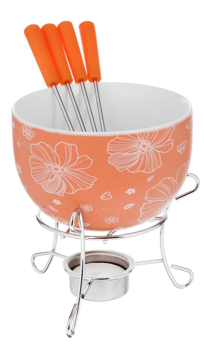 Набор для фондю Fissman Mini, цвет: оранжевый, 8 предметовFD-6308.6Набор для фондю Fissman Mini состоит из чаши, подставки с подсвечником и 4 вилочек. Чаша изготовлена из глазурованной керамики и декорирована цветочным рисунком. В центре подставки устанавливается свеча-таблетка (входит в комплект), сверху ставится чаша. В наборе имеется 4 вилочки с пластиковыми ручками. В чашечке растапливается шоколад, на вилочки насаживается зефир или фрукты - и вот нехитрый, но очень привлекательный способ украсить вечер в компании самых дорогих и любимых. Диаметр чаши (по верхнему краю): 11,5 см. Высота чаши: 7 см. Высота подставки: 8,5 см. Диаметр отверстия для свечи: 4 см. Длина вилочки: 15 см.