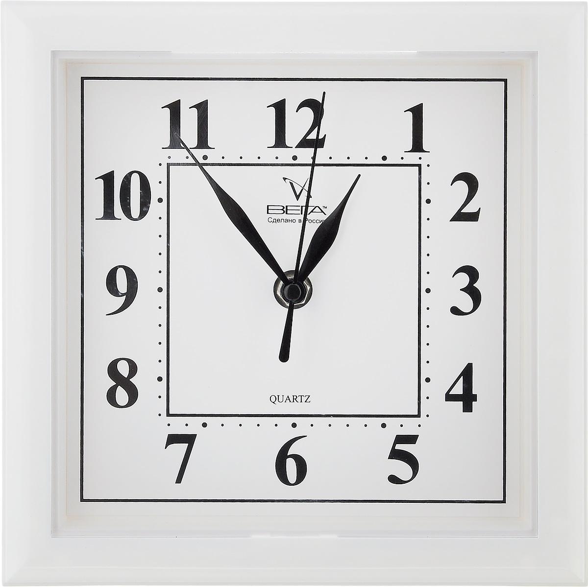 Часы настенные Вега Классика, цвет: белый, 20,6 х 20,6 х 4 смП3-7-46Настенные кварцевые часы Вега Классика, изготовленные из пластика, прекрасно впишутся в интерьер вашего дома. Квадратные часы имеют три стрелки: часовую, минутную и секундную, циферблат защищен прозрачным пластиком. Часы работают от 1 батарейки типа АА напряжением 1,5 В (не входит в комплект).